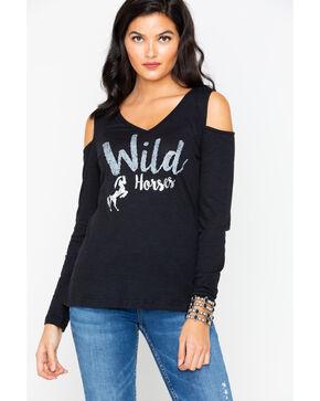 Ariat Women's Wild Horses Graphic Cold Shoulder Top , Black, hi-res