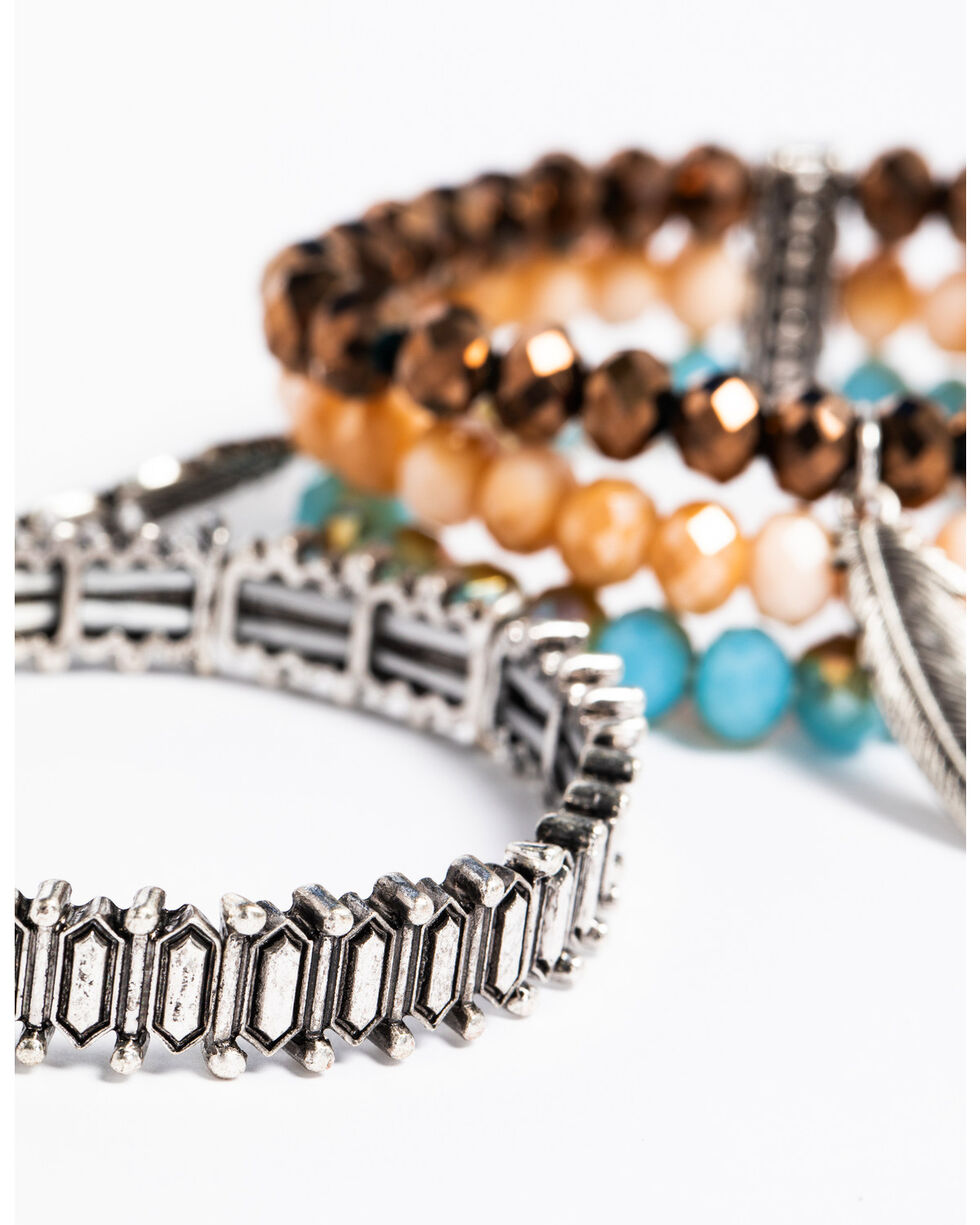 Idyllwind Women's Feather Beaded 4 Bracelet Stack, Multi, hi-res