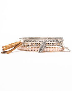 Shyanne Women's Moonlit Three Piece Bangle Tassel Bracelet Set , Silver, hi-res