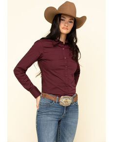 Ariat Women's Burgundy Kirby Stretch Long Sleeve Western Shirt , Burgundy, hi-res