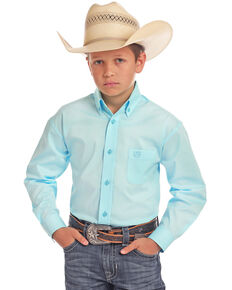 Panhandle Select Boys' Blue Solid Stretch Long Sleeve Western Shirt , Light Blue, hi-res