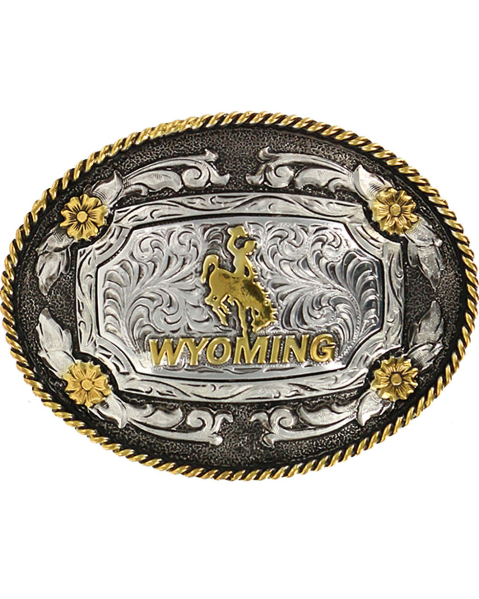 Cody James® Men's Oval Wyoming Belt Buckle, Silver, hi-res