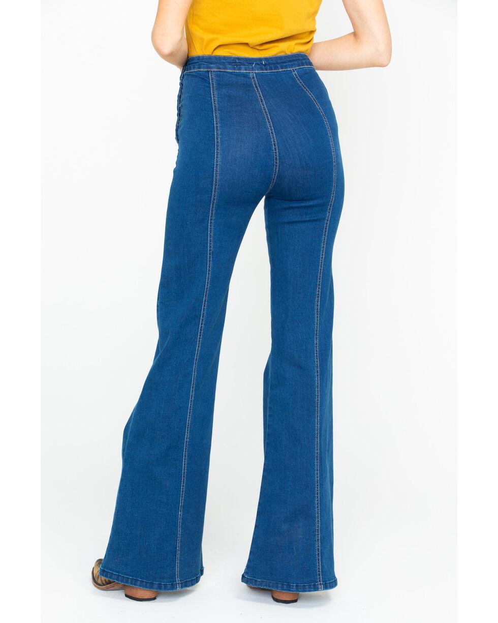 Flying Tomato Women's Button Side Dark Denim Flare Trouser Jeans, Dark Blue, hi-res