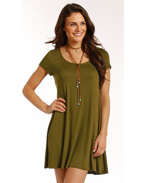 Panhandle Women's Flared Hem Cap Sleeve Dress, Olive, hi-res