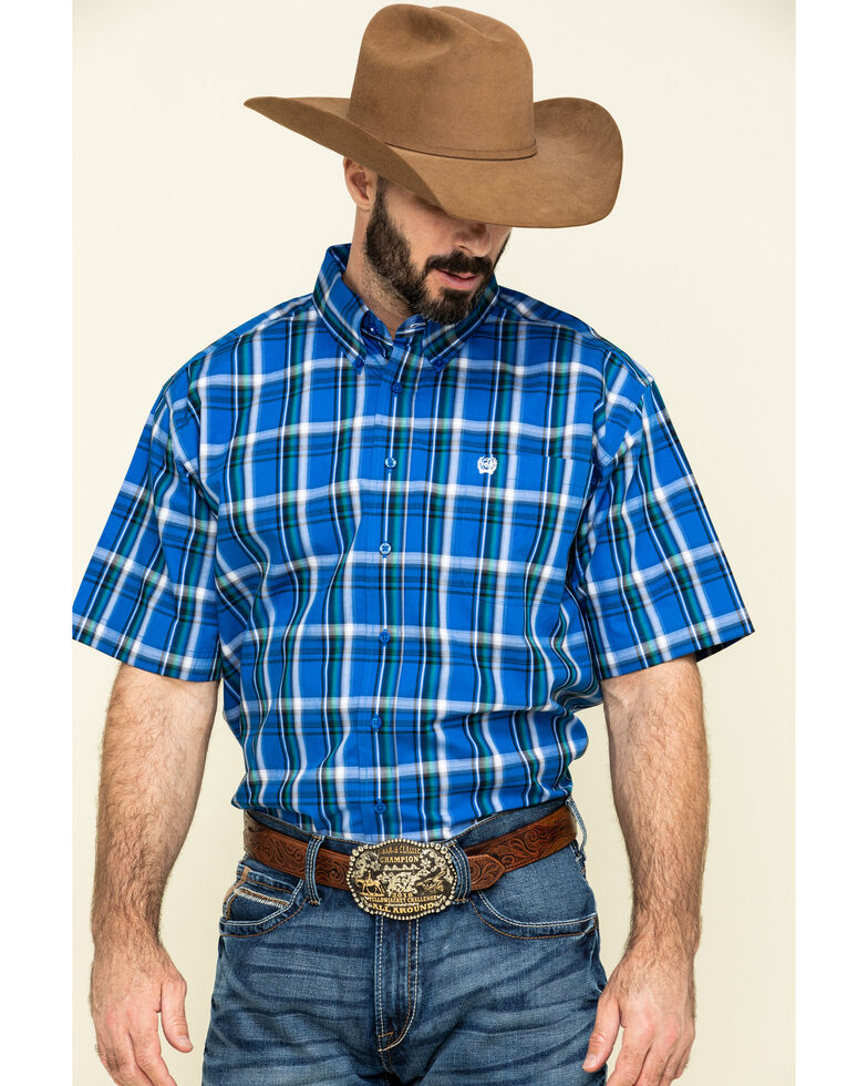 Cinch Men's Royal Blue Plaid Short Sleeve Western Shirt , Blue, hi-res