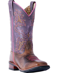 Laredo Women's Lola Purple Tan Inlay Cowgirl Boots - Square Toe, Tan, hi-res