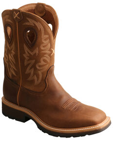 Twisted X Men's Brown Western Work Boots - Steel Toe, Brown, hi-res