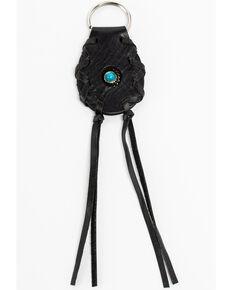 Shyanne Leather Concho & Tassel Key Chain, Black, hi-res