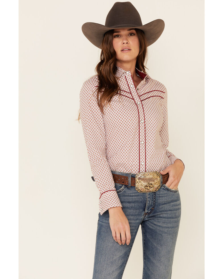 Rock & Roll Denim Women's Dot Geo Print Piped Long Sleeve Western Shirt , Rust Copper, hi-res