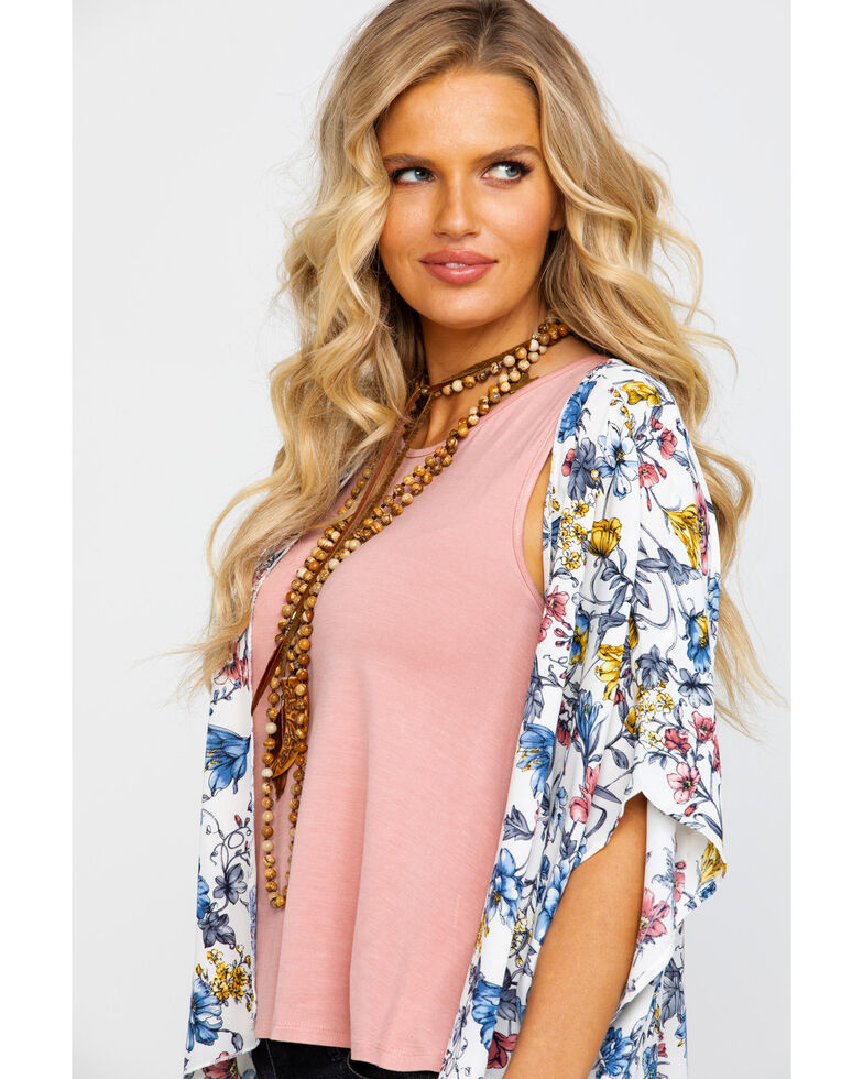 Red Label by Panhandle Women's Multi-Color Floral Print Kimono, Natural, hi-res