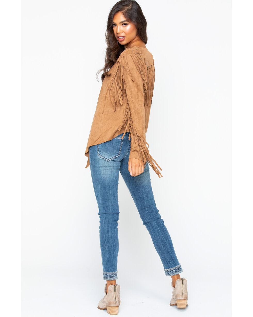 Vocal Women's Faux Suede Camel Fringe Jacket, Camel, hi-res