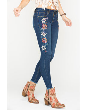 Miss Me Women's Floral Embroidered Skinny Jeans, Indigo, hi-res