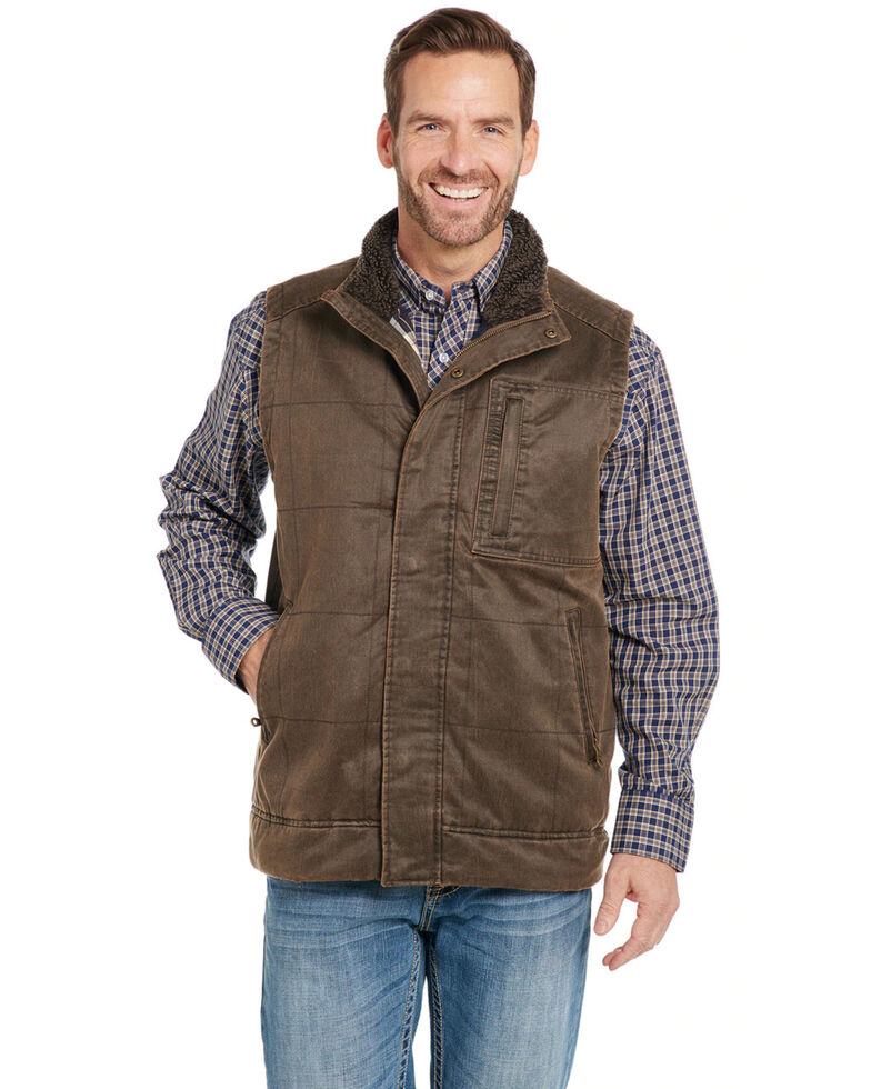 Cripple Creek Men's Chocolate Enzyme Washed Quilted Sherpa Vest , Brown, hi-res