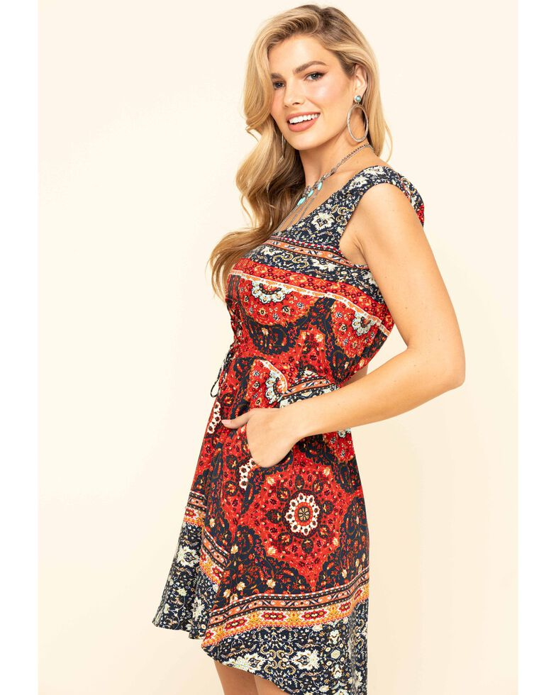 Idyllwind Women's Folk Style Corset Dress, Navy, hi-res