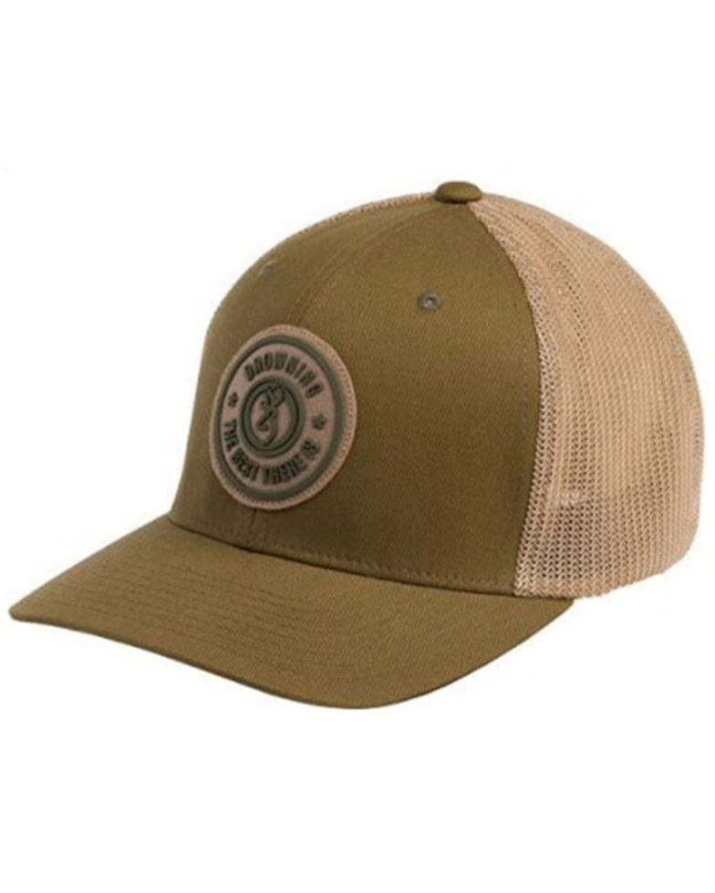 Browning Men's (S-M) Dusted Loden Embroidered Circle Logo Patch Mesh-Back Ball Cap , Brown, hi-res