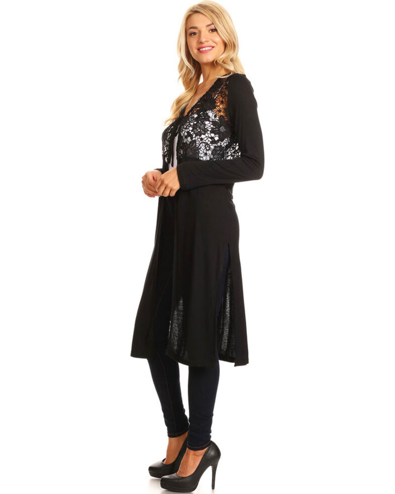 Young Essence Women's Long Sleeve Lace Detail Duster, Black, hi-res