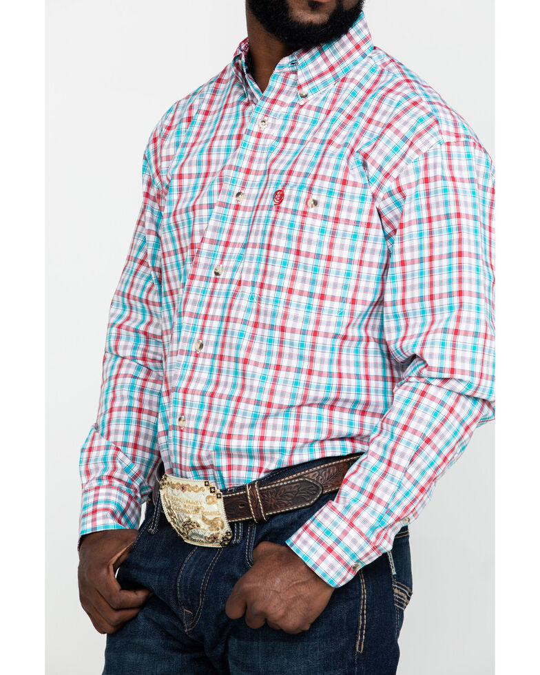 George Strait by Wrangler Men's Red Small Plaid Poplin Long Sleeve Western Shirt - Tall, Red, hi-res