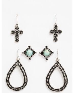 Shyanne Women's Bella Teardrop & Stud 3 Pack Earring Set, Silver, hi-res