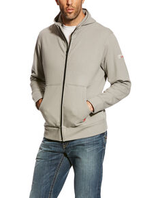 Ariat Men's Silver Fox FR Full Zip Hoodie - Big, Grey, hi-res