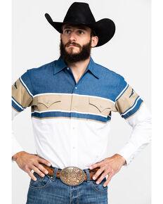 Ely Cattleman Men's Denim Color Block Aztec Print Long Sleeve Western Shirt , Indigo, hi-res