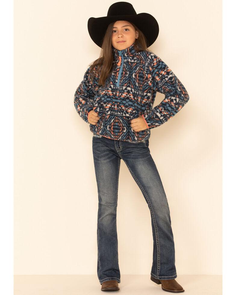 Cruel Girl Girls' Aztec Print Polar Fleece Zip Pullover , Purple, hi-res