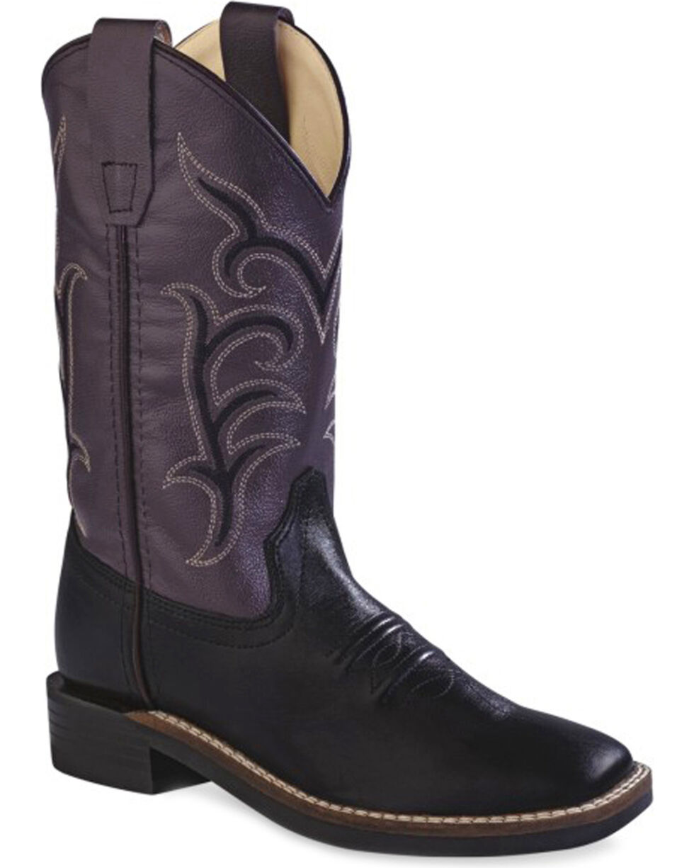 Old West Youth Girls' Colorful Western Cowboy Boots - Square Toe, Black, hi-res