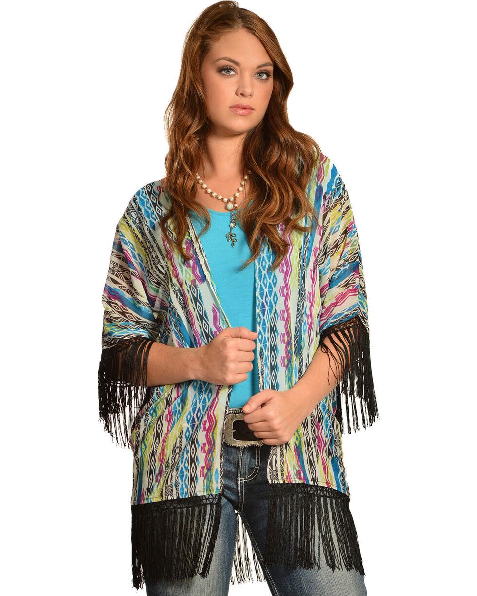 Wrangler Rock 47 Women's Multicolor Tribal Fringe Kimono Cardigan, White, hi-res