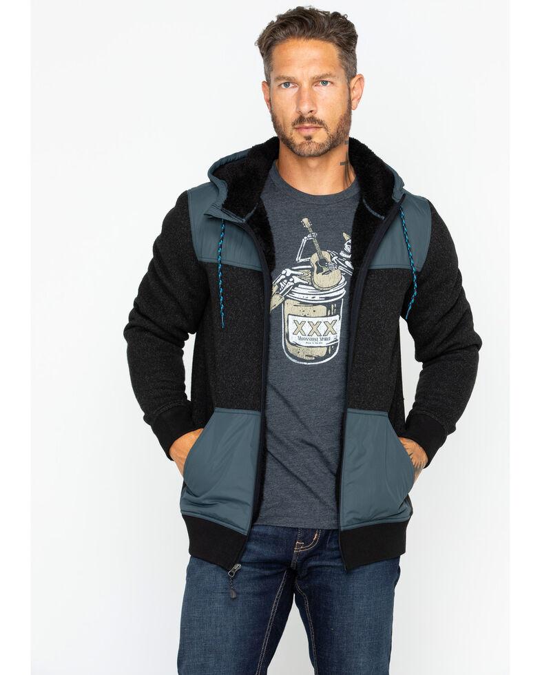Moonshine Spirit Men's Flask Hooded Sweater Jacket, Black, hi-res
