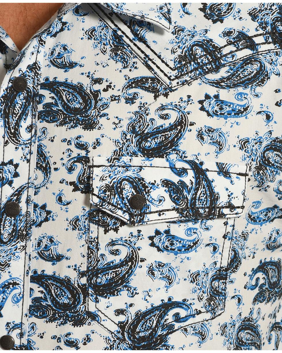 Moonshine Spirit Paisley Short Sleeve Western Shirt, Blue, hi-res