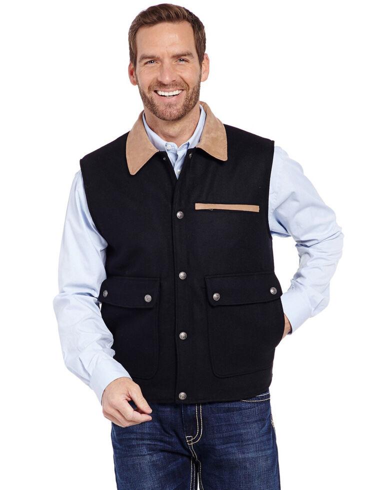 Cripple Creek Men's Black Wool Melton Snap Front Vest, Black, hi-res