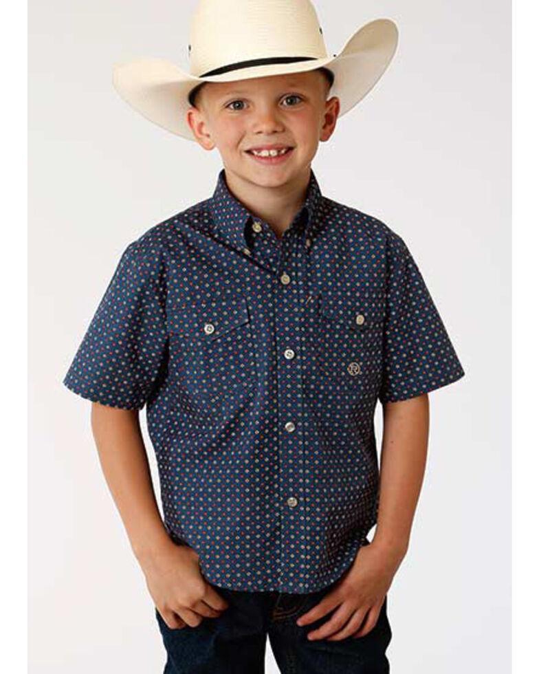 Roper Boys' Amarillo Heritage Foulard Geo Print Short Sleeve Western Shirt  , Blue, hi-res