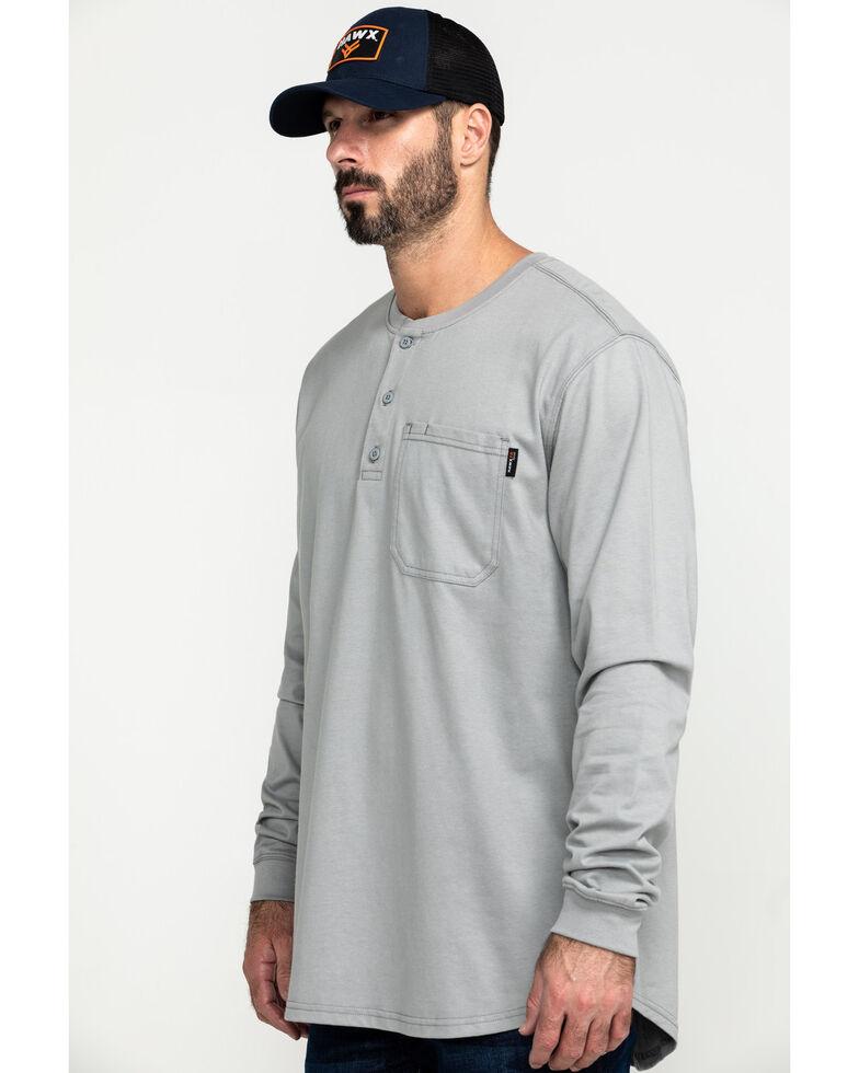 Hawx® Men's Men's Grey FR Pocket Henley Long Sleeve Work Shirt, Silver, hi-res