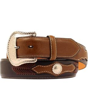 Nocona Men's Two Tone Whip Stitch Western Belt, Black, hi-res