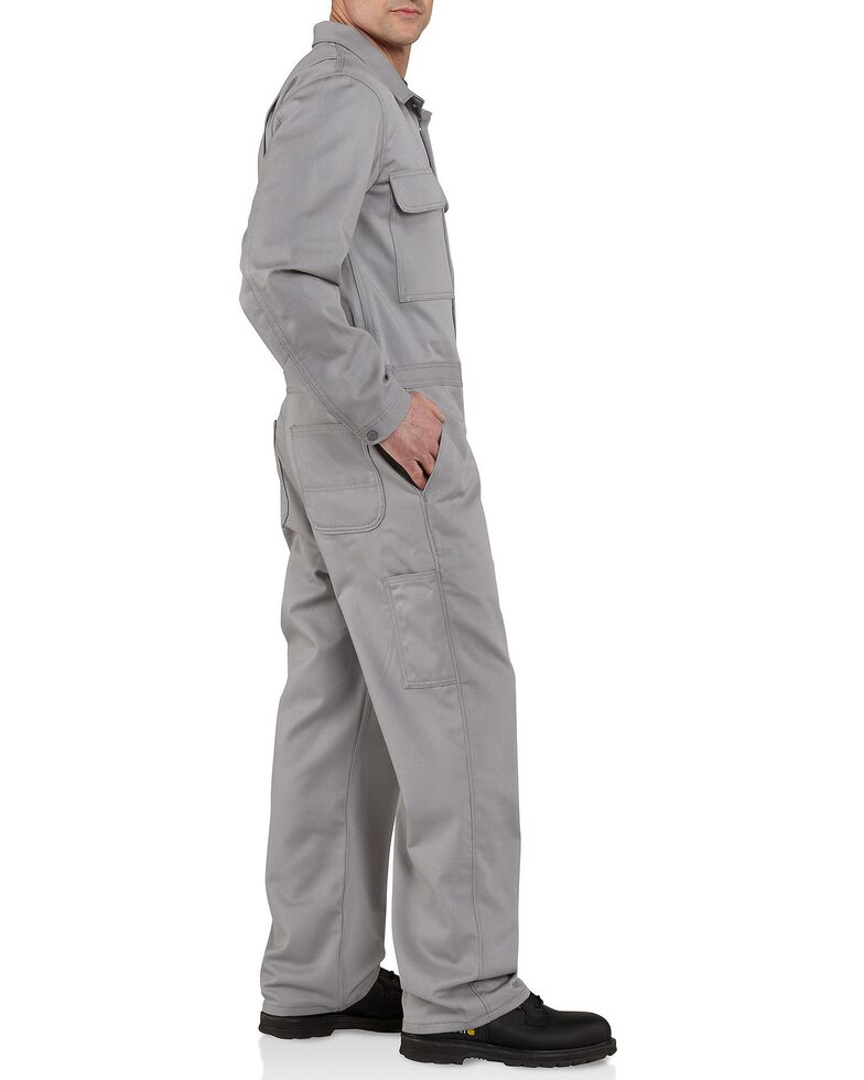 Carhartt Men's Flame Resistant Traditional Twill Coveralls, Grey, hi-res