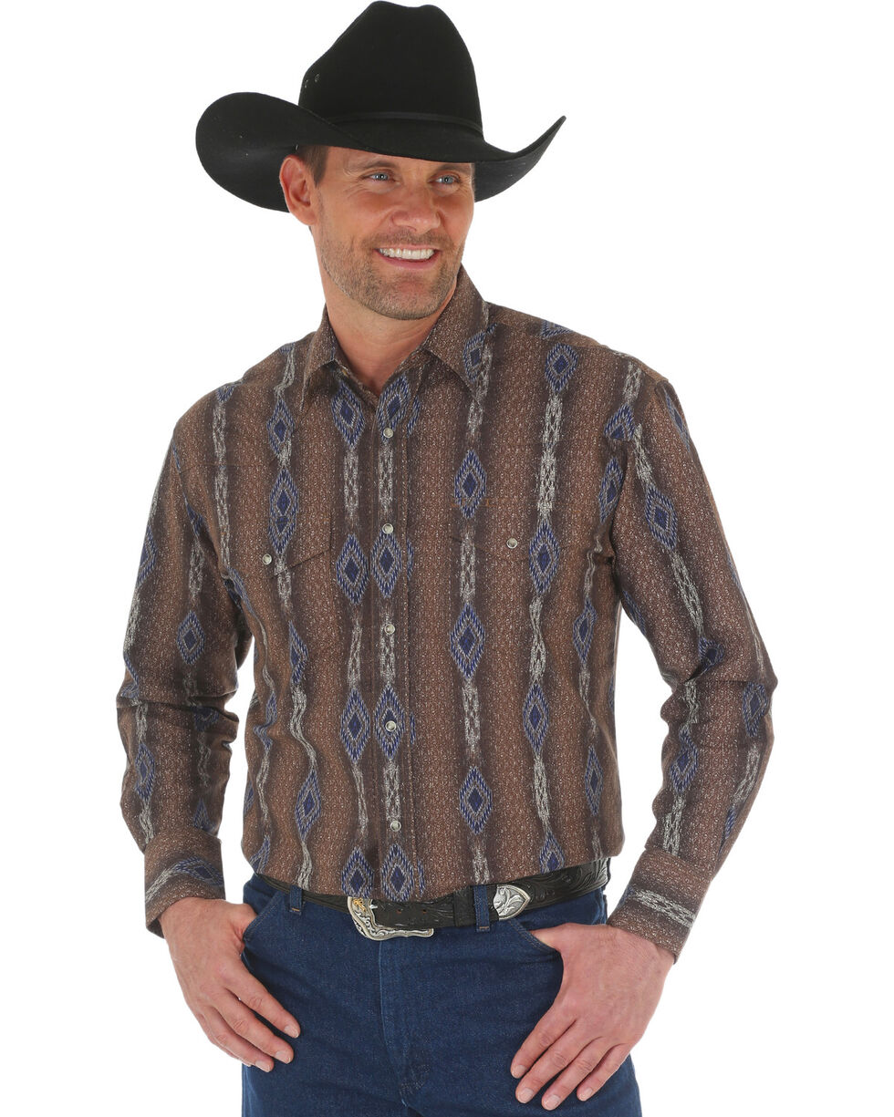 Wrangler Men's Brown Checotah Vertical Stripe Print Western Shirt , Brown, hi-res
