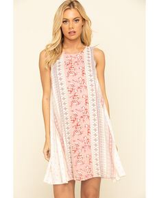Coco + Jaimeson Women's Paisley Border Swing Dress, Mauve, hi-res