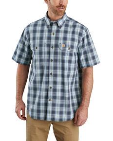 Carhartt Men's Blue Plaid Original Fit Midweight Short Sleeve Work Shirt - Big , Blue, hi-res