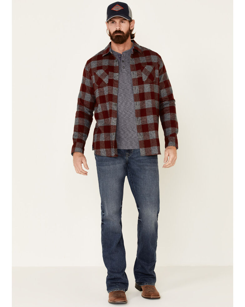 Flag & Anthem Men's Maroon Harrells Plaid Long Sleeve Western Flannel Shirt , Maroon, hi-res