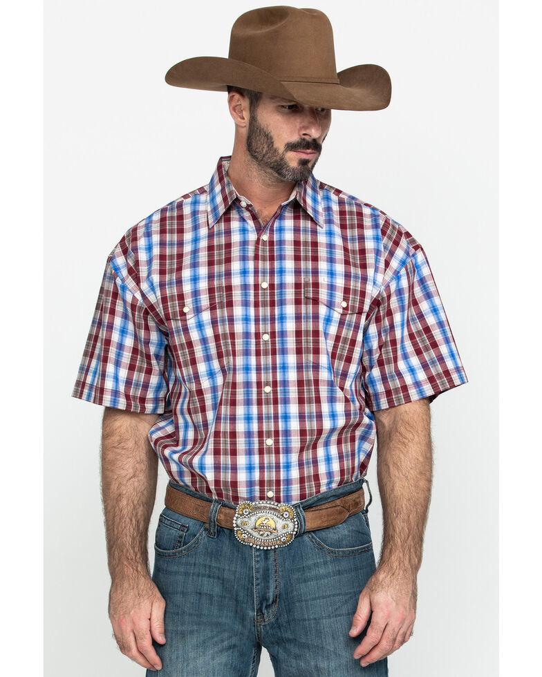Panhandle Select Men's Brown Poplin Plaid Short Sleeve Western Shirt , Grey, hi-res