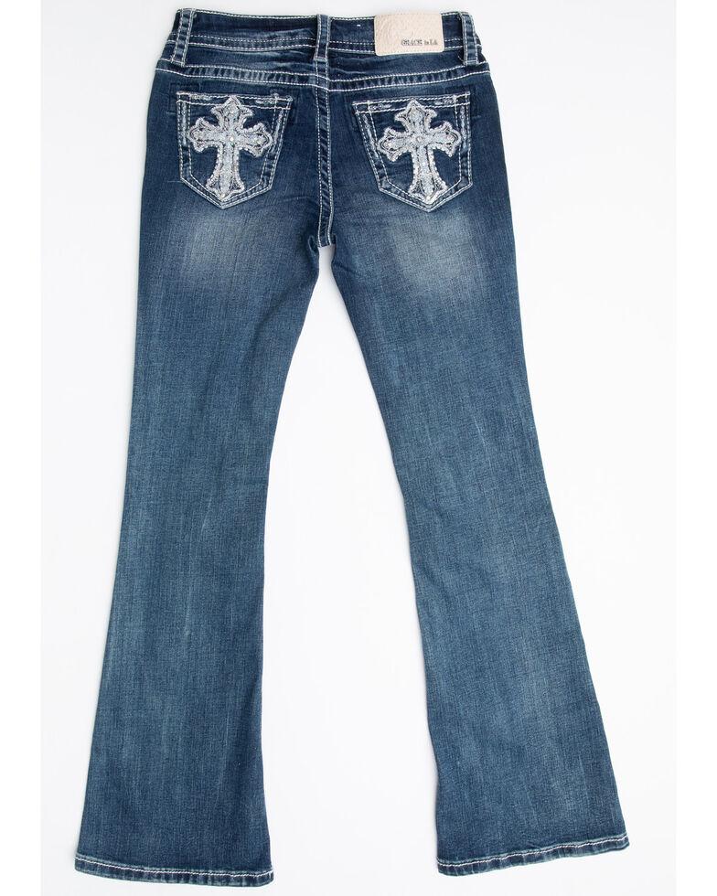 Grace in LA Girls' Medium Cross Bootcut Jeans , Blue, hi-res