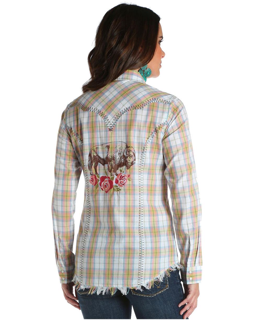 Wrangler Women's Buffalo Rose Plaid Western Top, Pink, hi-res