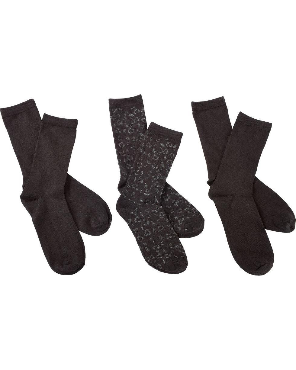 K-Bell Women's 3-Pack Leopard Crew Socks, Black, hi-res