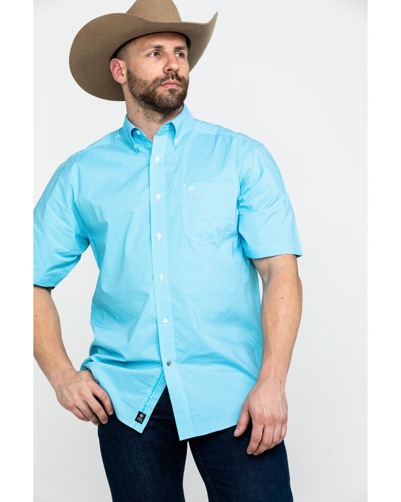 Ariat Men's Marino Stretch Small Plaid Short Sleeve Western Shirt , Turquoise, hi-res