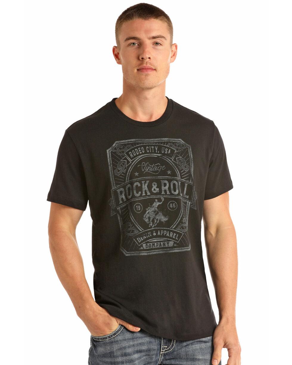 Rock & Roll Cowboy Men's Vintage Bronco Rider Graphic T-Shirt , Black, hi-res