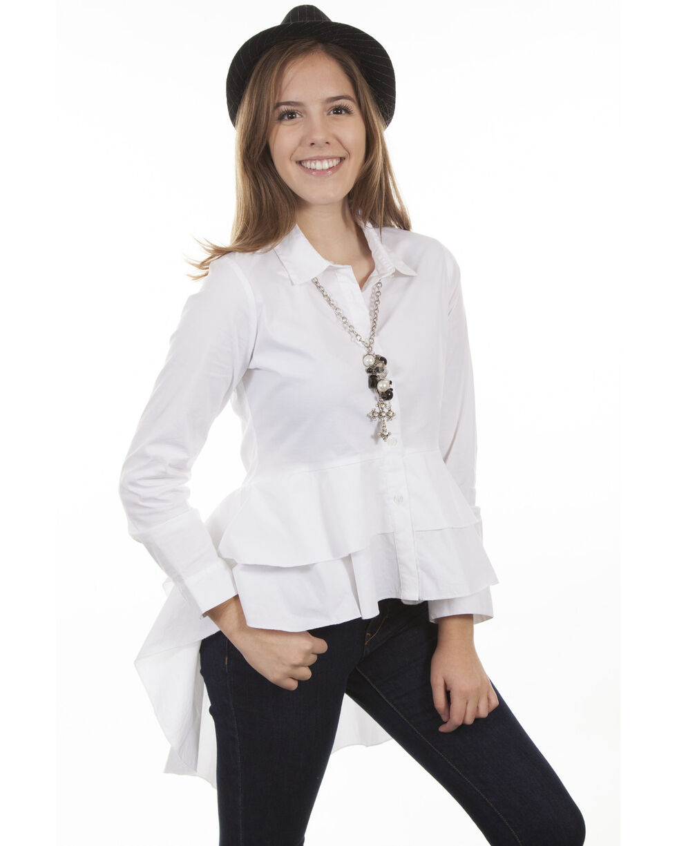 Honey Creek by Scully Women's White Hi-Low Layered Long Sleeve Blouse, White, hi-res