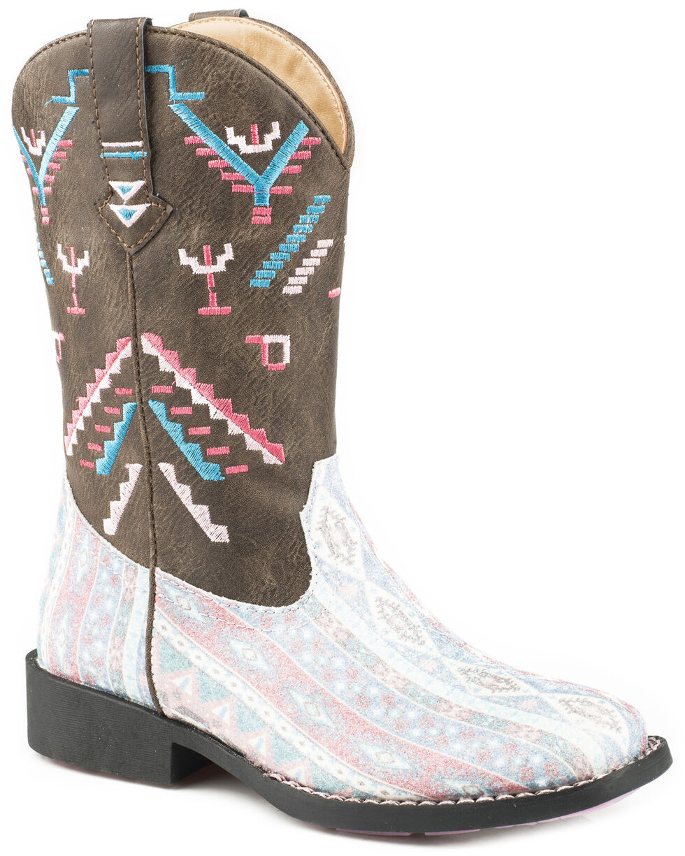 Roper Girls' Glitter Azteka Cowgirl Boots - Square Toe, Brown, hi-res