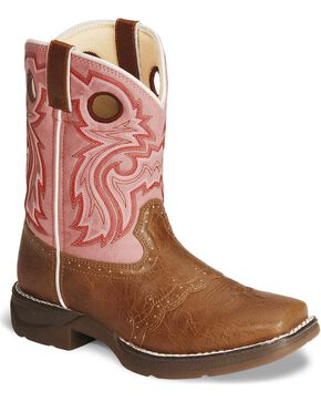 Durango Girls' Tan Lil' Flirt Cowgirl Boots - Square Toe, Tan, hi-res