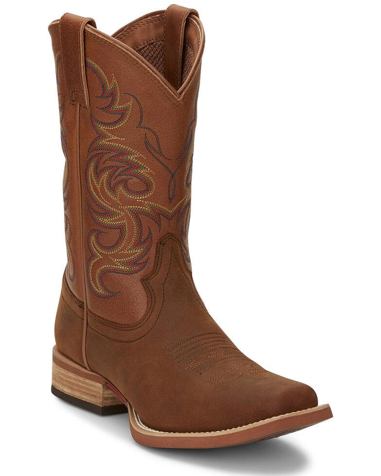 Justin Men's Cowman Cognac Western Boots - Wide Square Toe, Cognac, hi-res