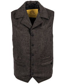 STS Ranchwear Men's Black Wool Gambler Vest - Big , Black, hi-res