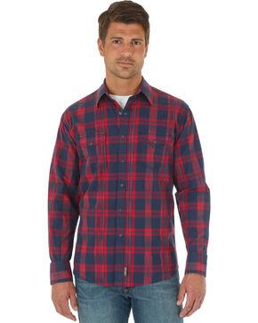 Wrangler Men's Retro Plaid Long Sleeve Shirt  , Red, hi-res